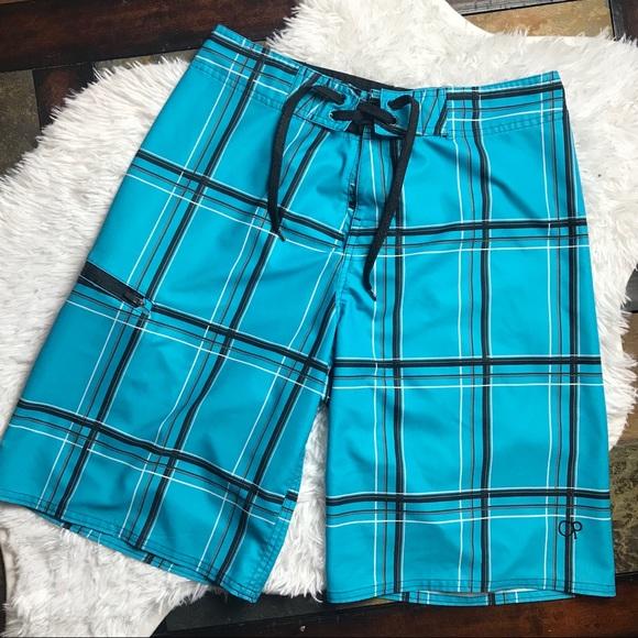 800017d113 Ocean Pacific | Blue & Black Board Shorts. M_5b3eb179aa571969c2d6b115